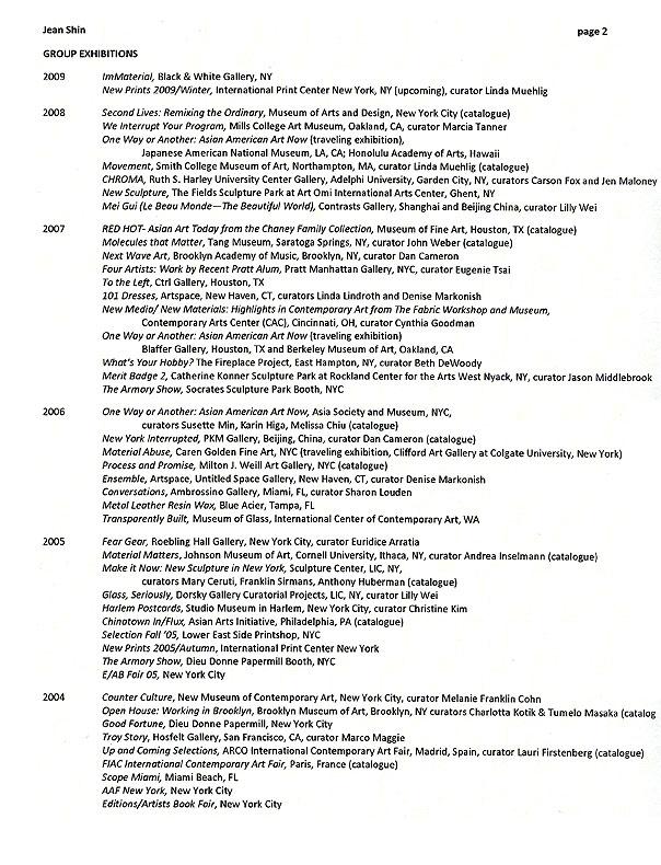 Jean Shin's Resume, pg 2